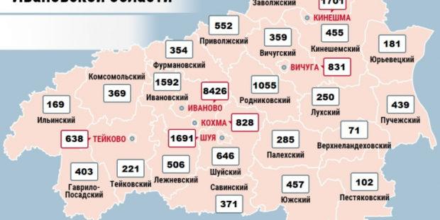 Карта распространения коронавируса в Ивановской области на 12 января