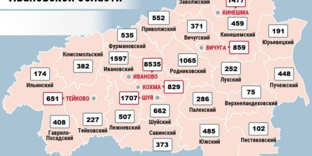 Карта распространения коронавируса в Ивановской области на 14 января