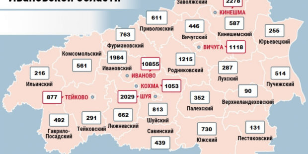 Карта распространения коронавируса в Ивановской области на 23 февраля