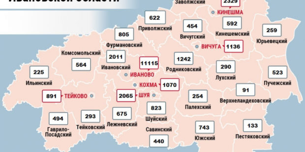 Карта распространения коронавируса в Ивановской области на 2 марта