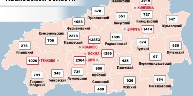 Карта распространения COVID-19 в Ивановской области на 22 июня