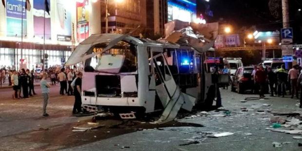 Видео 18+ с места страшного взрыва автобуса в Воронеже