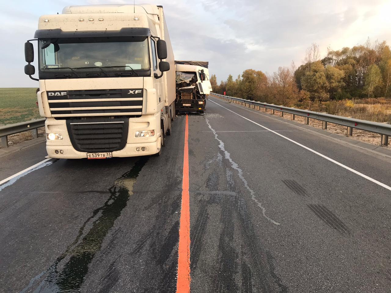 Два грузовых автомобиля столкнулись под Тулой
