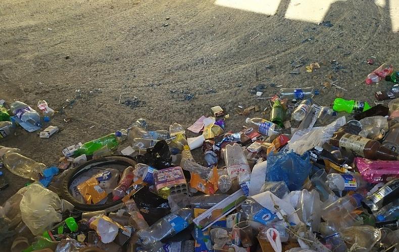 Жители Новомосковска жалуются на горы мусора возле остановки