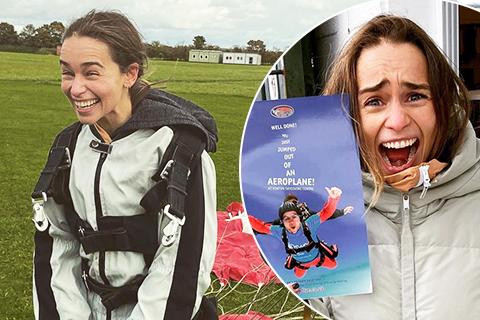 """Эмилия Кларк прыгнула с парашютом в честь своего 34-летия: """"Экзистенциальный ужас!"""""""